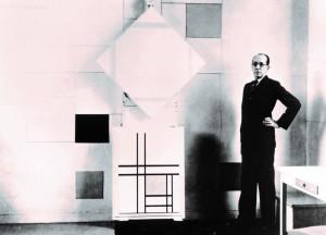 05. Mondriaan in zijn atelier in Parijs (1933). Foto Charles Karsten. Collectie RKD DH