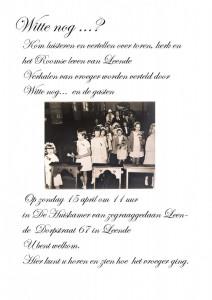 Uitnodiging voor Witte nog .. Toren, kerk en het Roomse leven