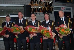 Gedecoreerden Brandweer Leende: Sjaak Cardinaal, Johan van Dijk, Henk , Harrie Bax en Wim Cardinaal foto (c) margot van den boer